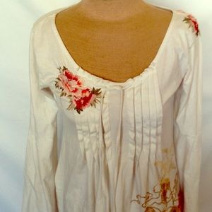 Johnny Was JWLA Ivory Top Embroidery Pockets Sz SM